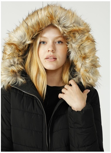 Only Only Newellan Quilted Fur Hood Mont Siyah